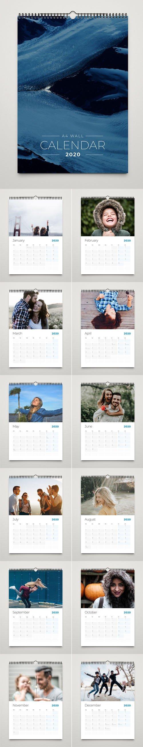 A4 Wall Calendar 2020 InDesign Template