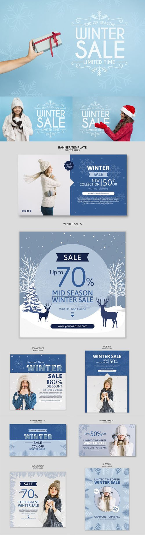 Winter Sales Marketing Campaign PSD Templates Collection 3