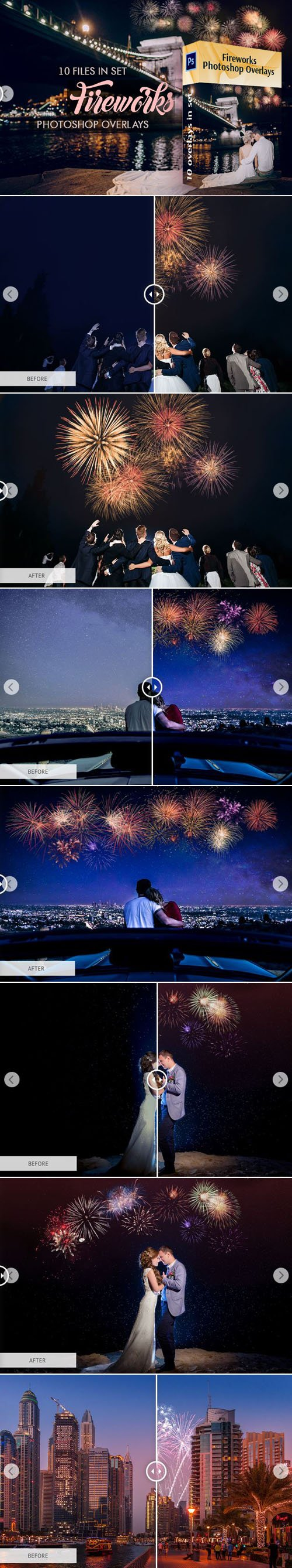 10 Fireworks Photoshop Overlays in Set