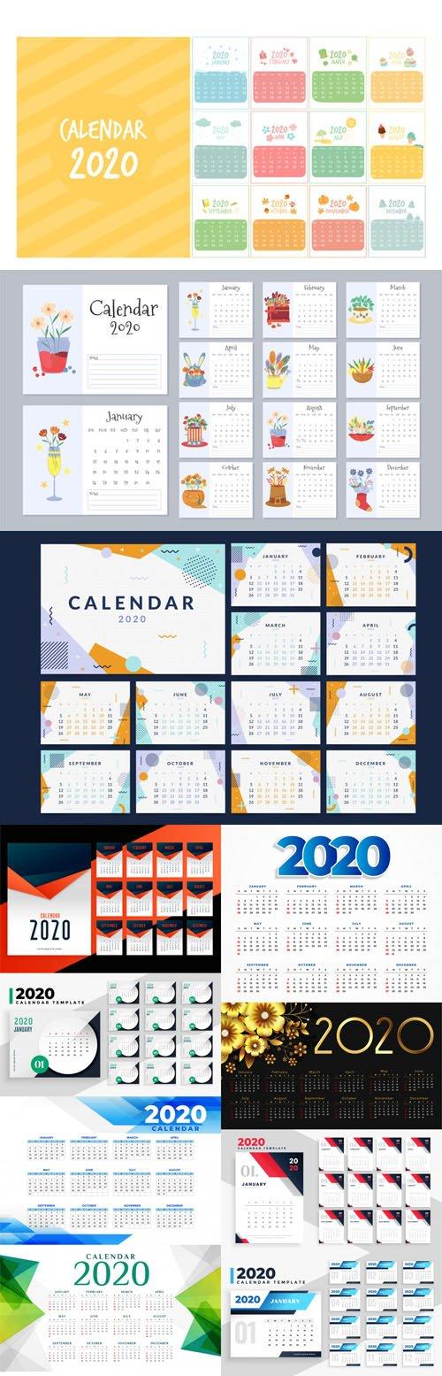 2020 Calendars Vector Collection 3