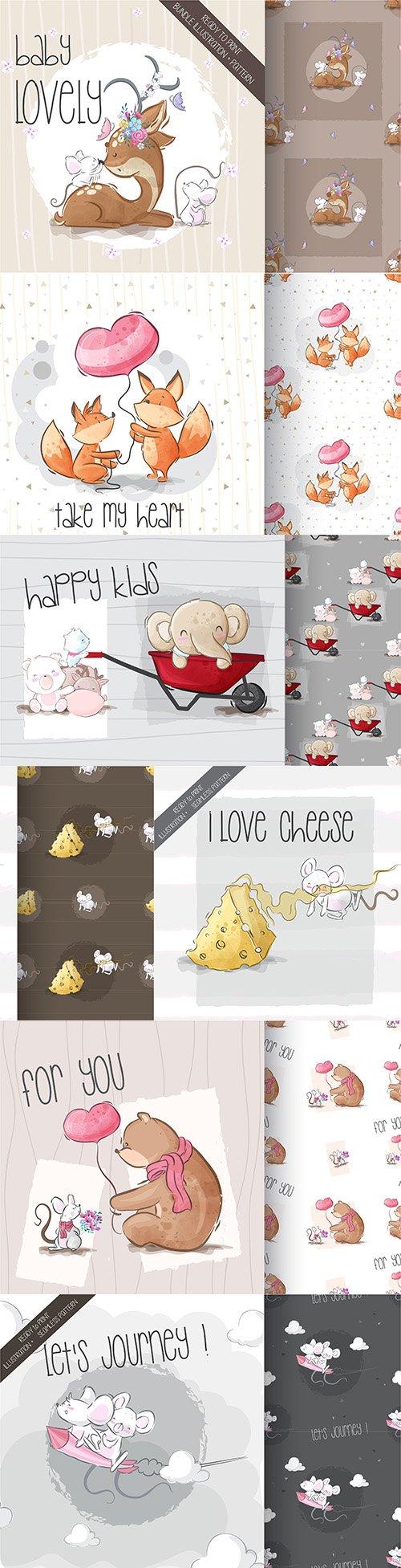 Funny animal cartoon characters design card 5