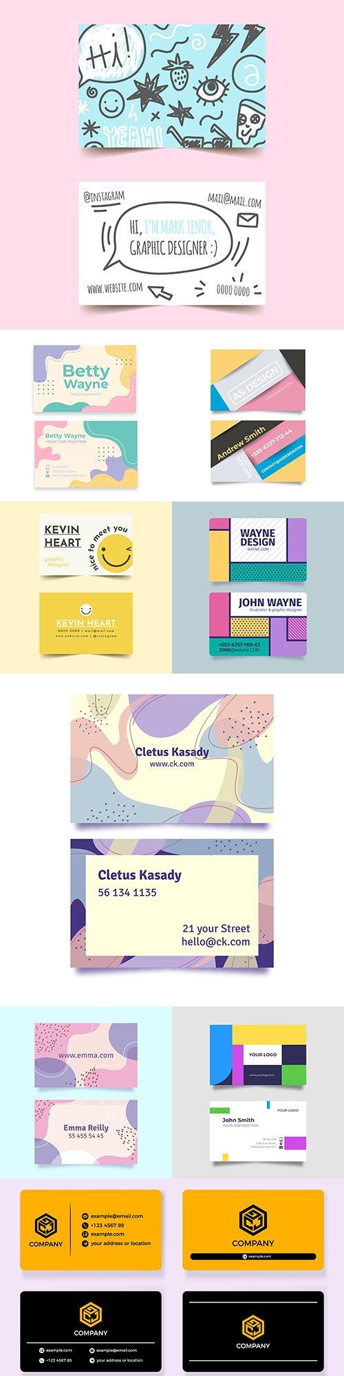 Business cards pastel gradient design template