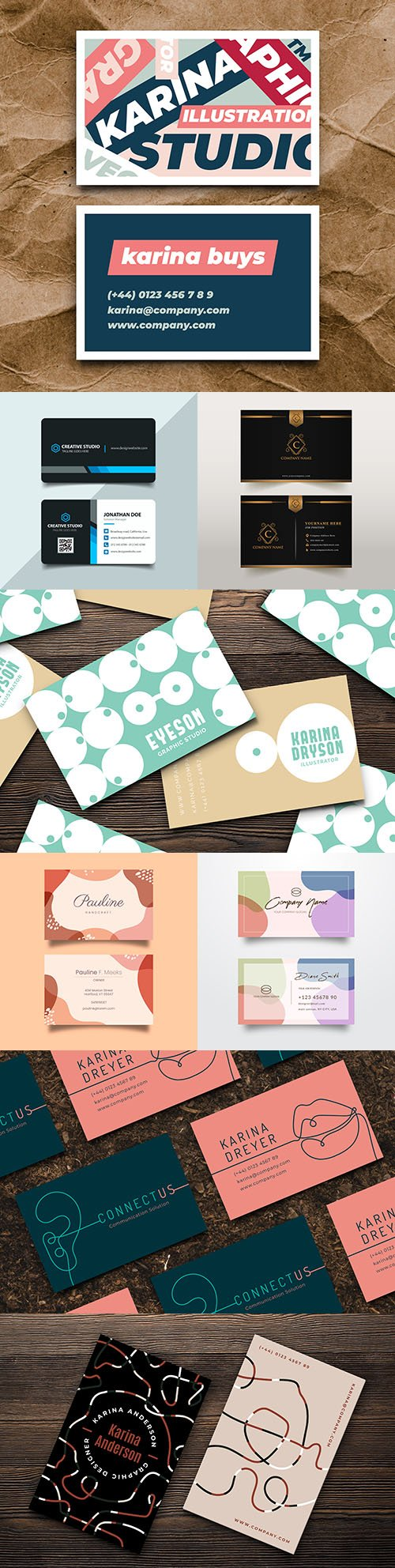 Business cards brand company design template 3