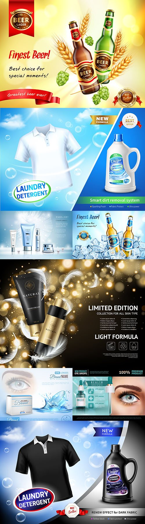 Brand cosmetics and household chemistry 3d illustration