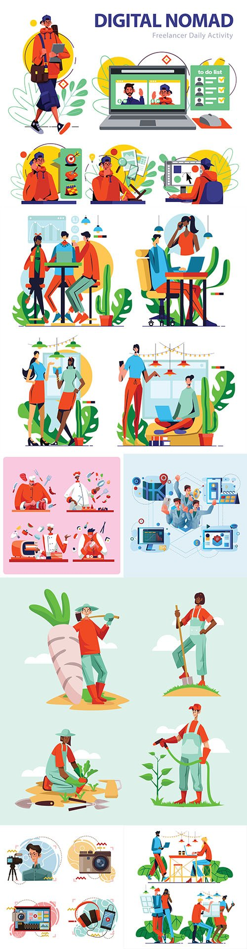 People lifestyle and working in team cartoon llustration