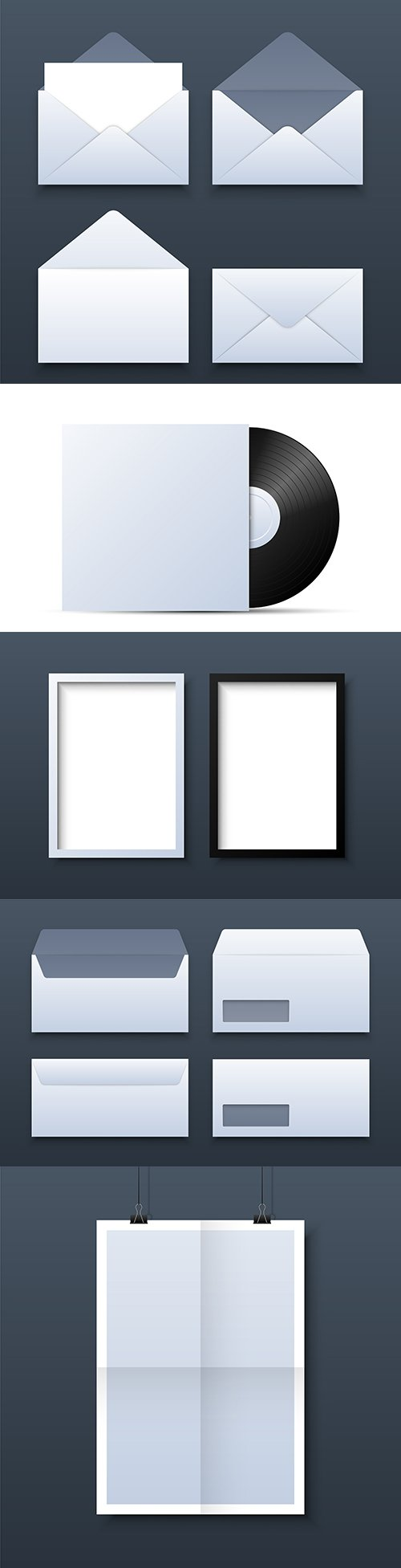 Mail envelope, frame and page 3d template