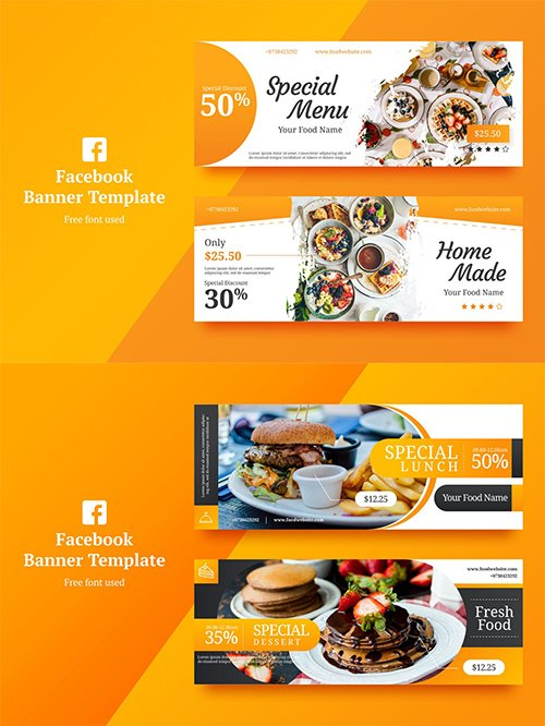 Vector Food Facebook Banner 1,2