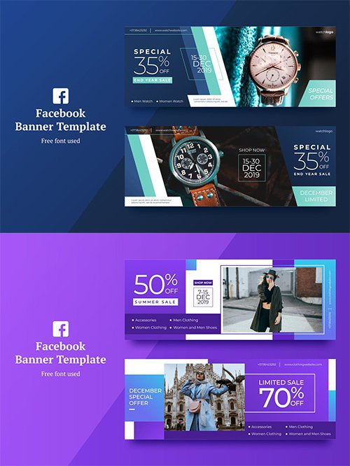 Vector Sale Facebook Banner 1,2