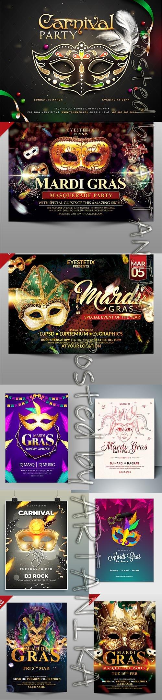 Mardi Gras Masquerade Party Flyer Template Set