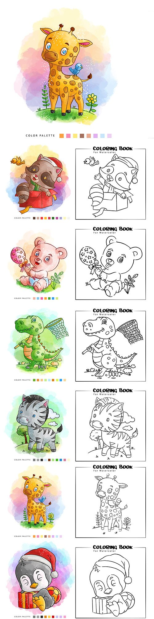 Coloring nice animal watercolor illustrations