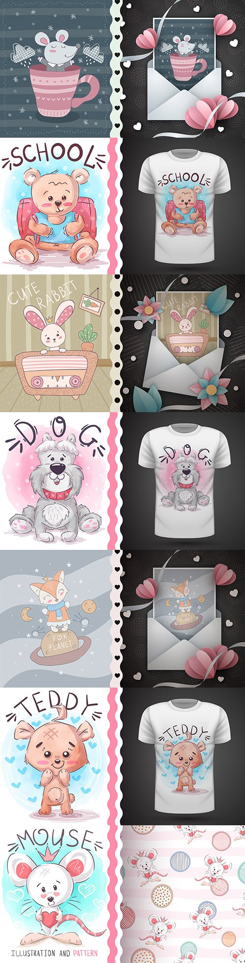 Funny animal cartoon characters design press on t-shirt 7