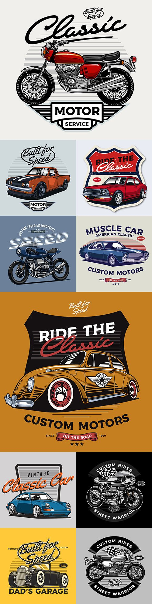 Classic car and vintage motorcycle illustrations