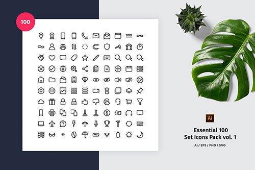 Essential 100 Set Icon Pack Vol. 1