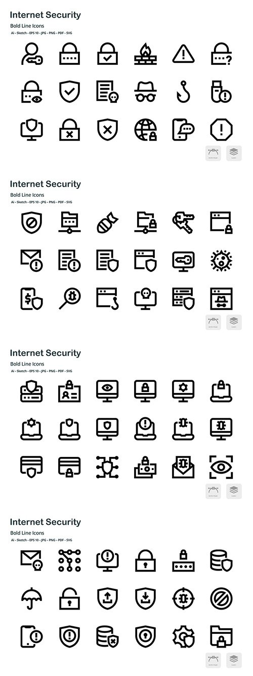 Internet Security Mini Bold Line Vector Icons