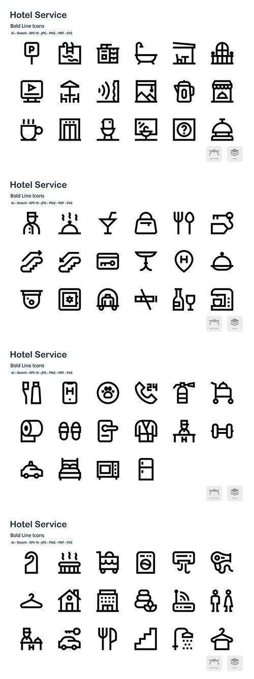 Hotel Service Mini Bold Line Vector Icons