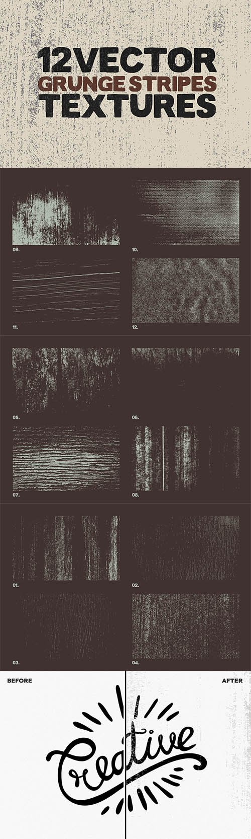 Vector Grunge Stripes Textures x12
