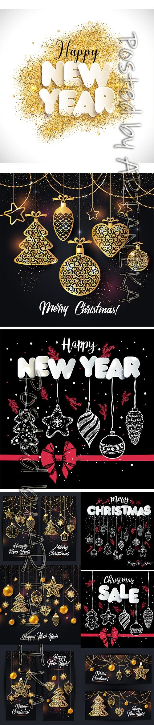 Vector Illustration Set Christmas and New Year Backgrounds