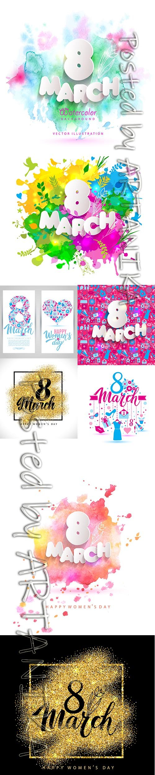 International Happy Womens Day 8 March Backgrounds Vector Set Vol 5