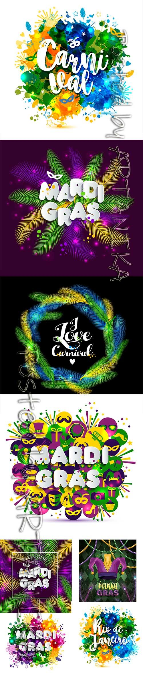 Mardi Gras Carnival Party Background Vector Pack Vol 6