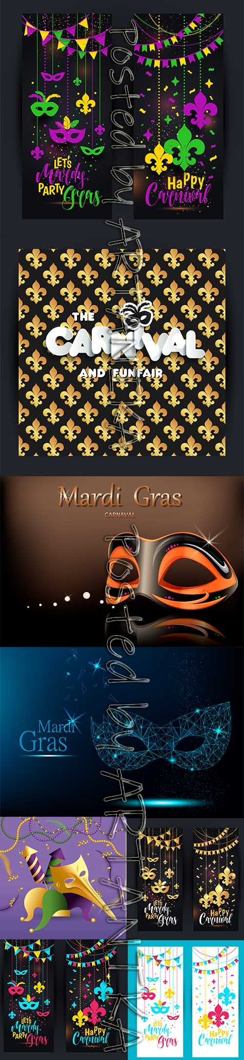 Mardi Gras Carnival Party Background Vector Pack Vol 7