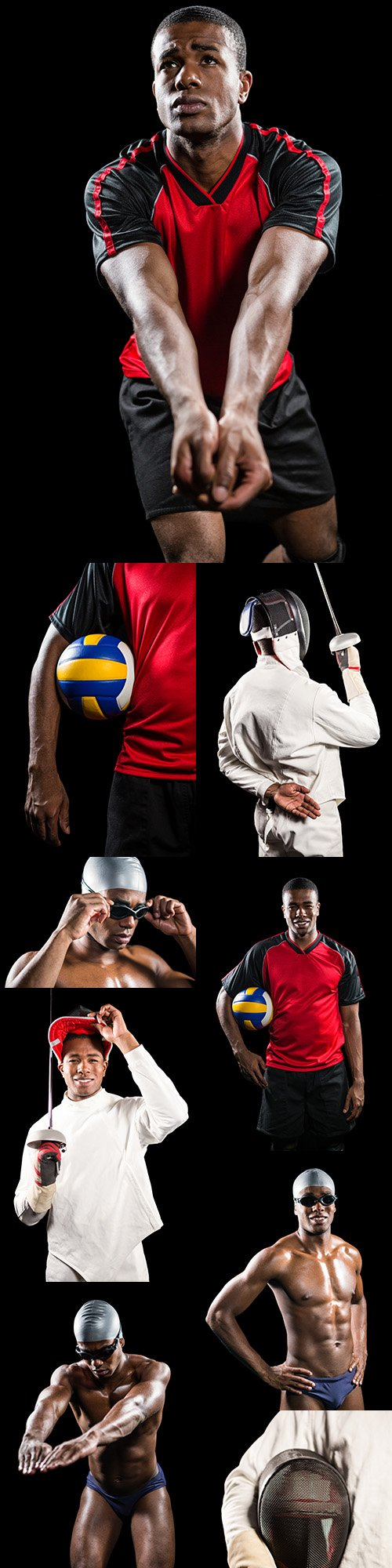Football, swimmer and fencer professional sports