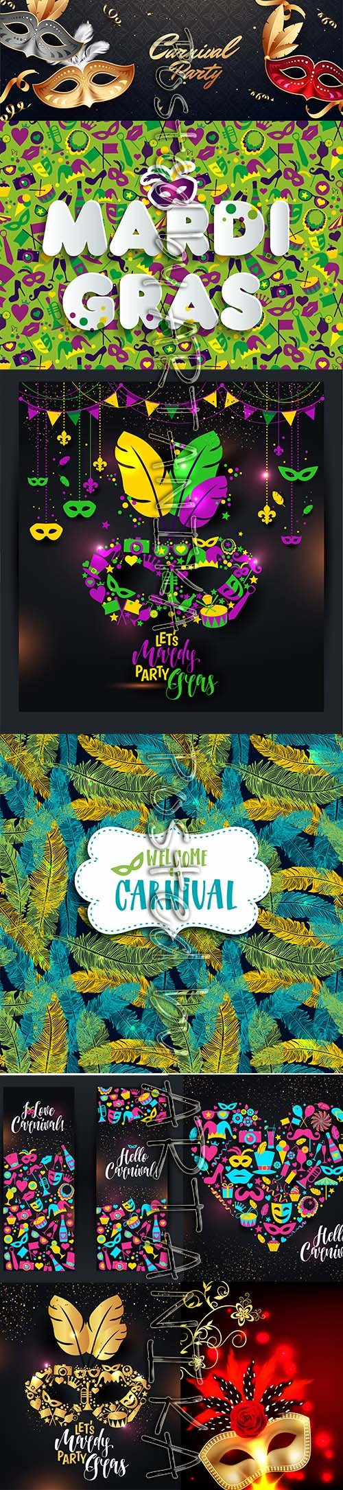 Mardi Gras Carnival Party Background Vector Pack Vol 9