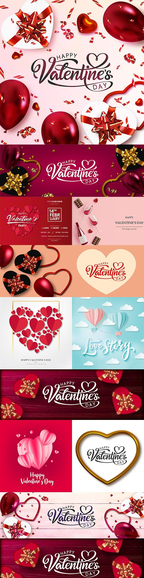 Valentine's Day romantic elements decorative illustrations 16