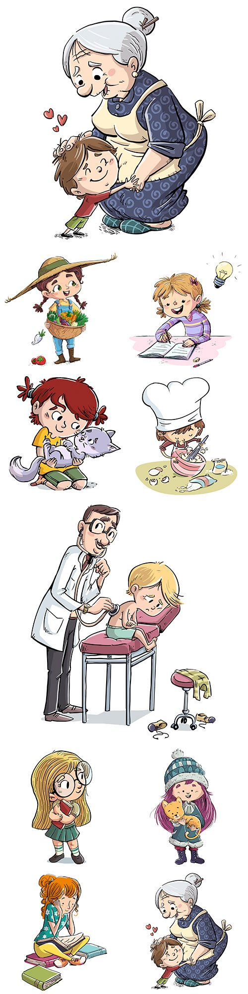 Young children and lifestyle objects vector illustrations
