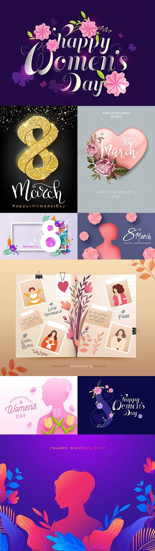 March 8 Women's Day illustration design concept