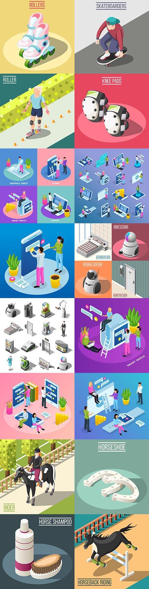 Isometrics flat business technology and people design 14