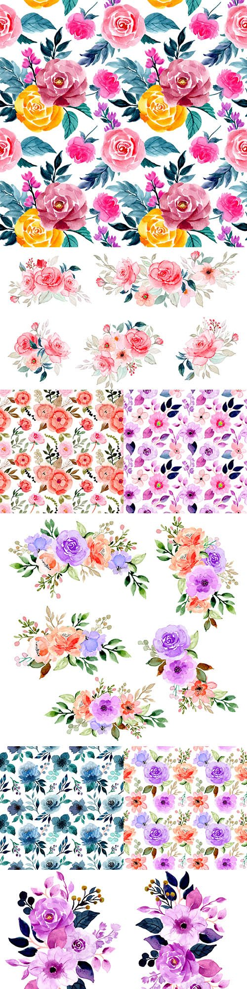 Watercolor flower composition and seamless background