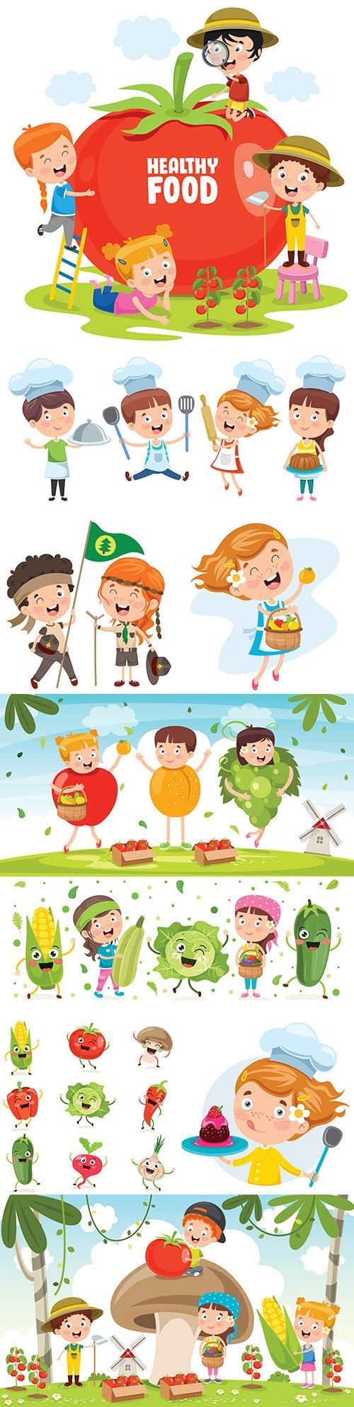 Happy little children and fresh fruit for healthy diet