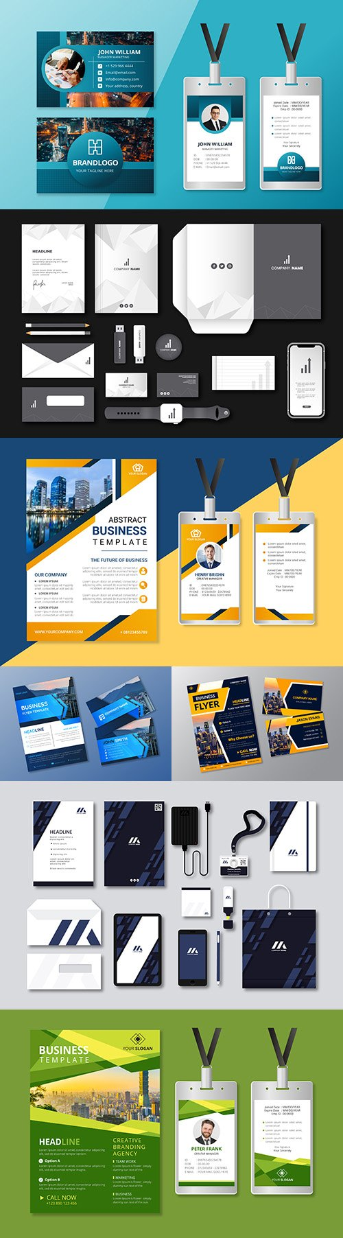 Business card and template colorful modern stationery