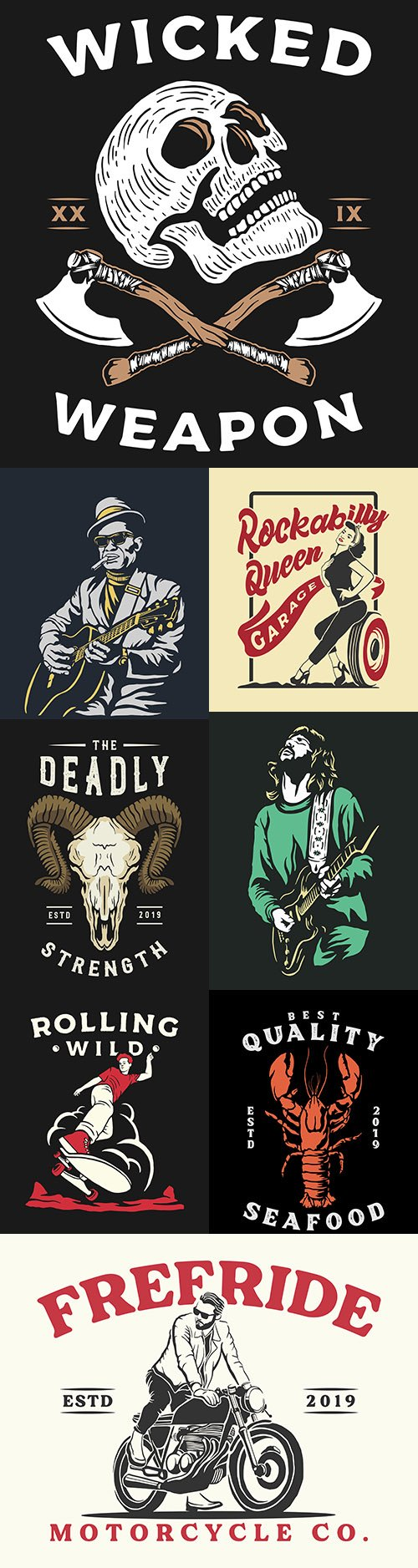 Vintage and retro illustrations banner design collection
