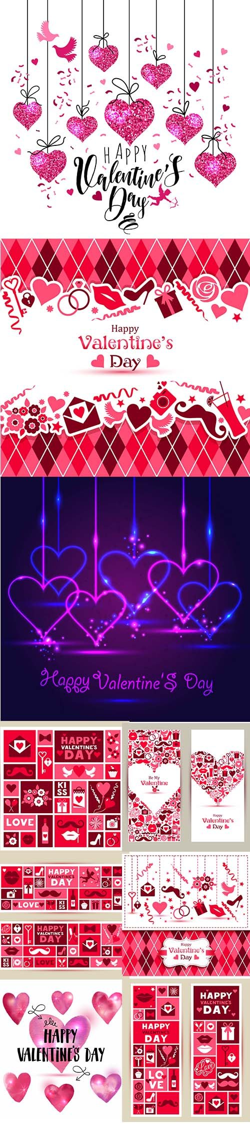 Set of Happy Valentines Day Vector Illustrations