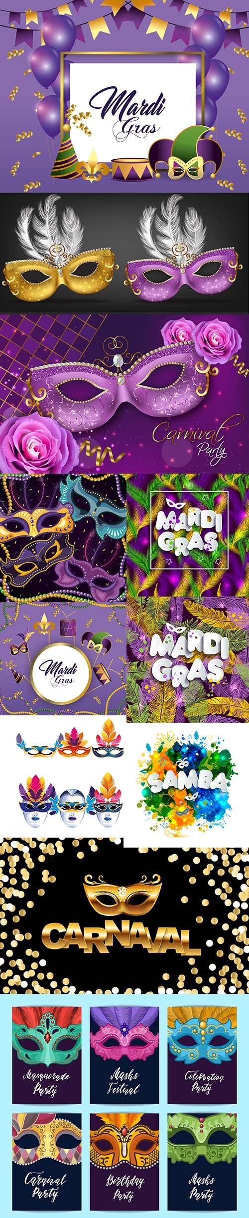 Set of Carnival Mardi Gras Illustration