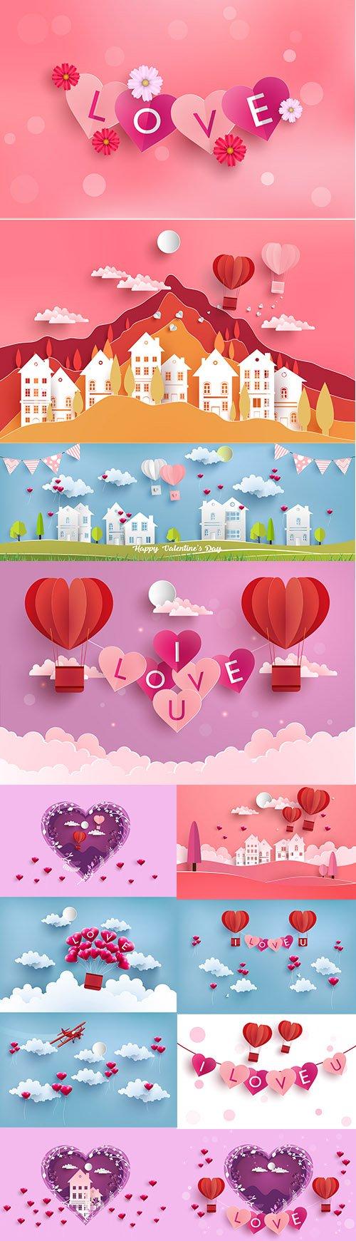 Happy Valentines Day Illustration Set