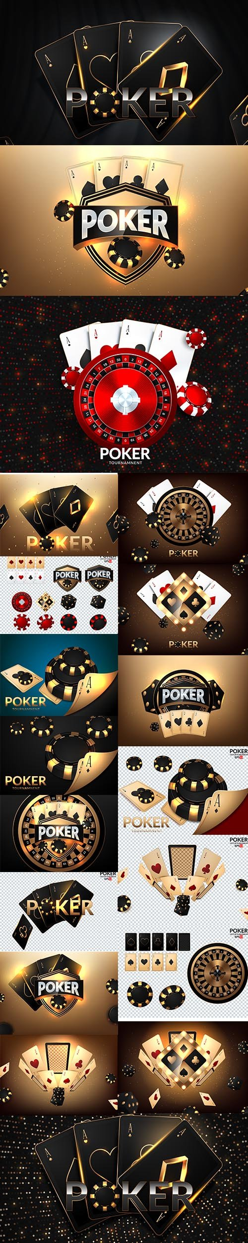 Set of Casino Playing Cards Illustrations
