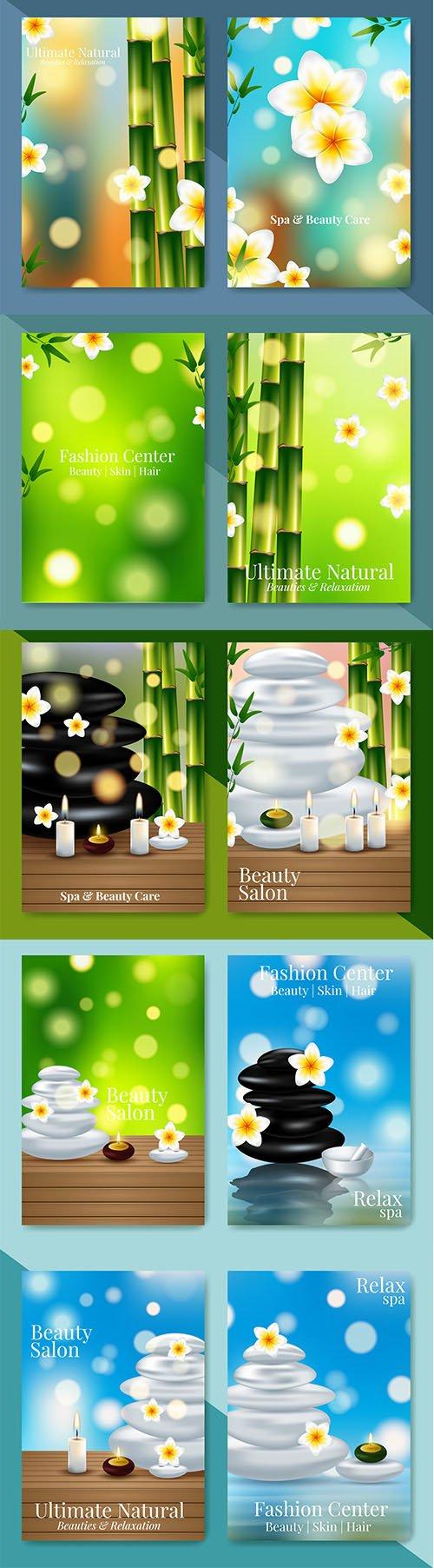 Set of Minimalistic Spa Healthcare Design Illustrations