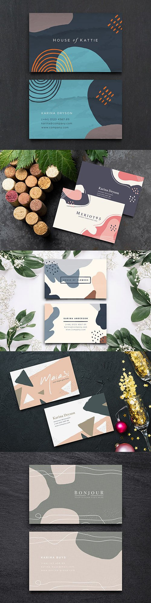 Business card template with pastel tone spots