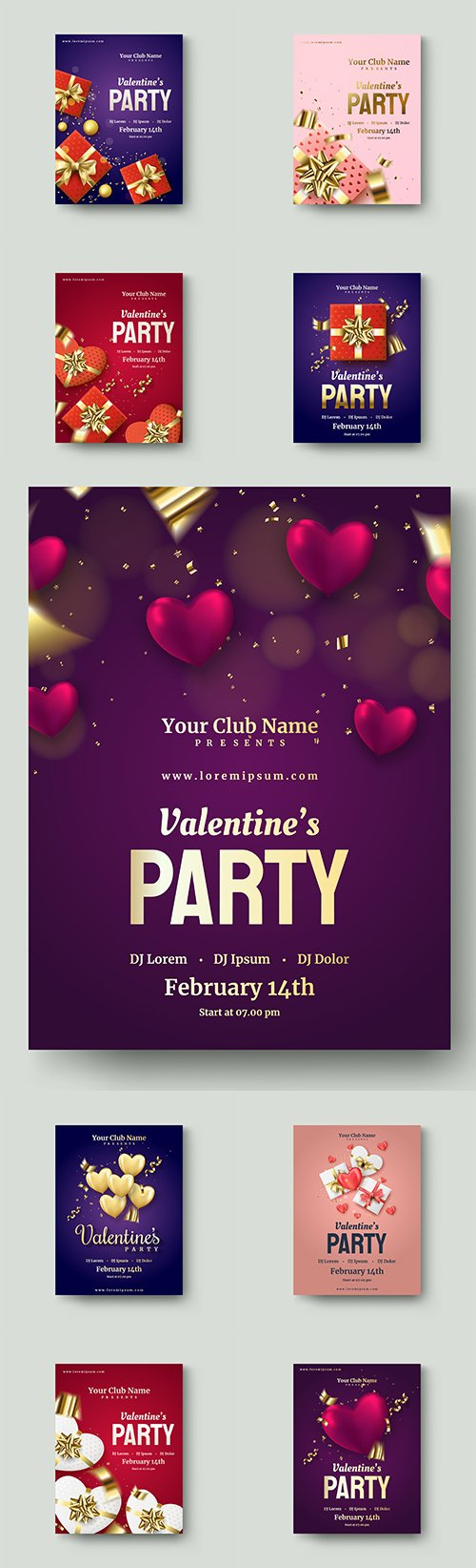 Valentine's Day romantic poster decorative illustrations