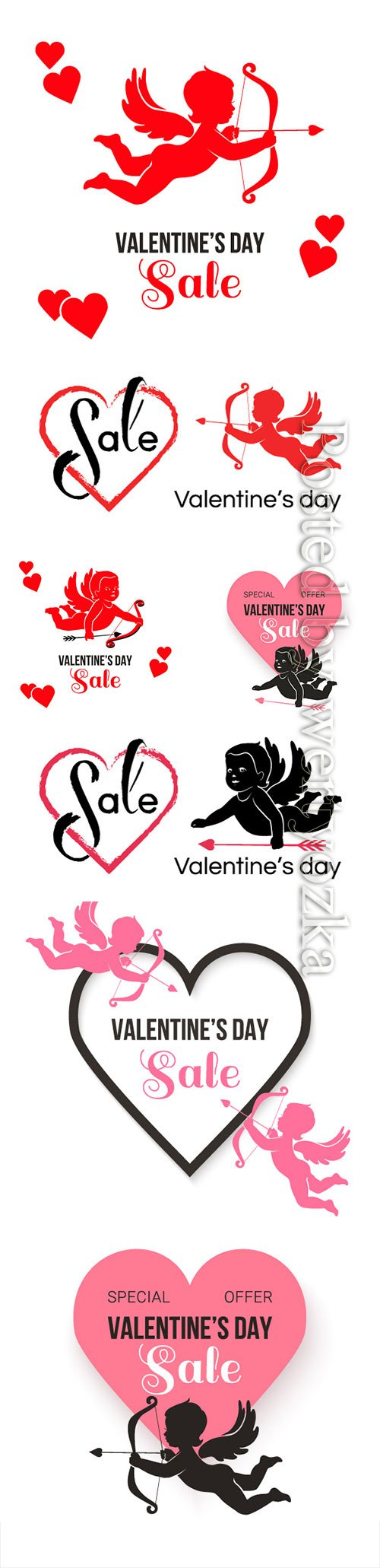 Happy Valentine's Day, vector hearts of couples in love # 21