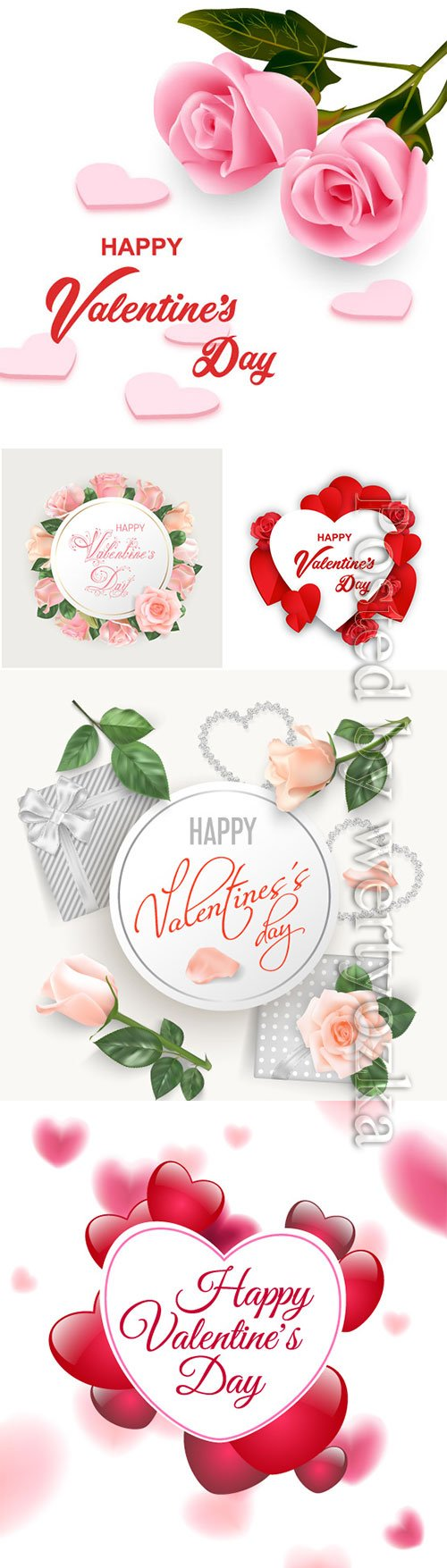 Happy Valentine's Day, vector hearts of couples in love # 20