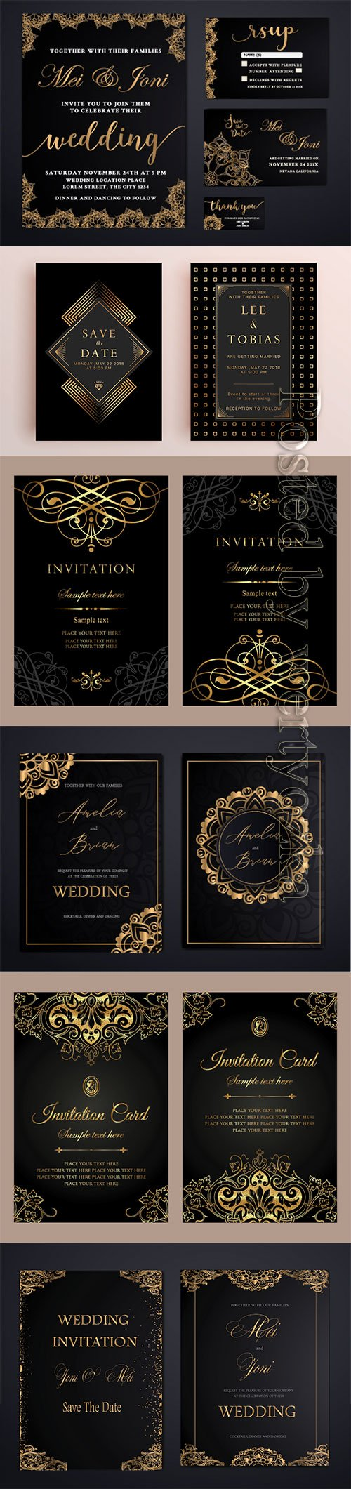 Invitation card luxury gold template design in vintage style