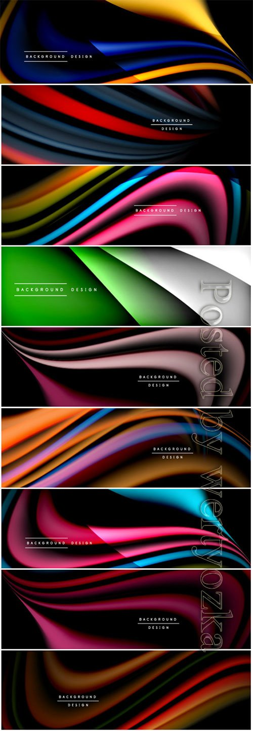 Wave lines and shapes in color vector banner background