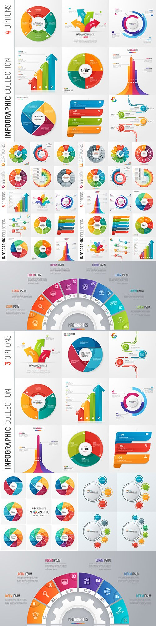 Business infographics options elements collection 125