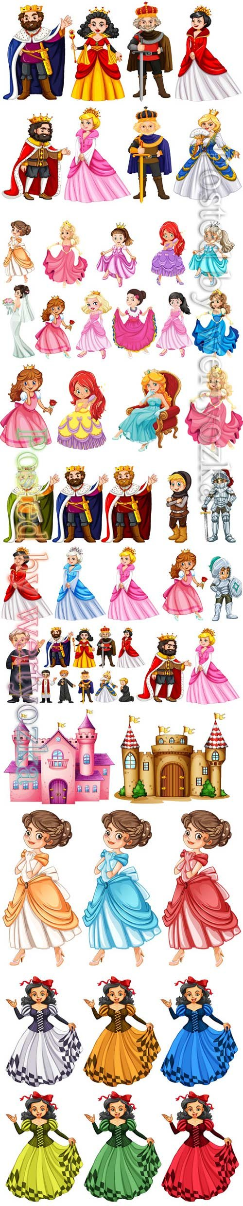 Different vector characters of king and queen