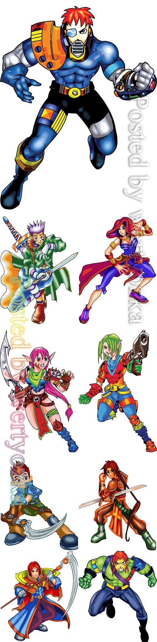 Set of warrior tale character