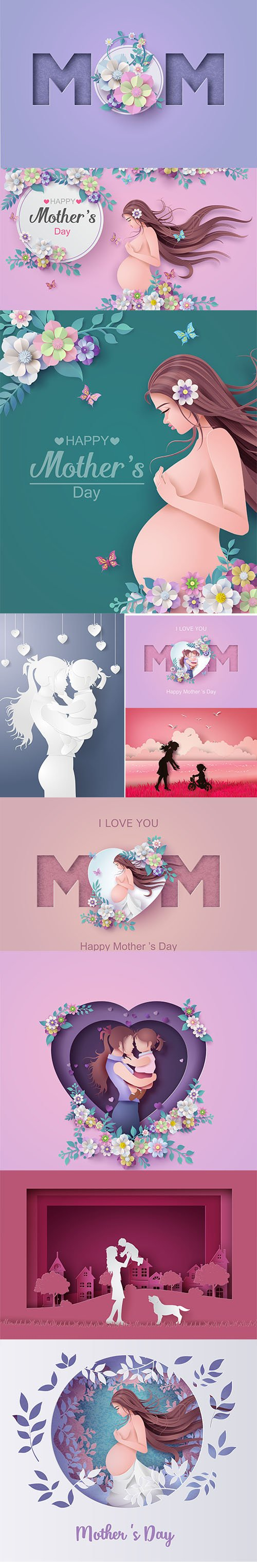 Happy Mothers Day Greeting Card Set