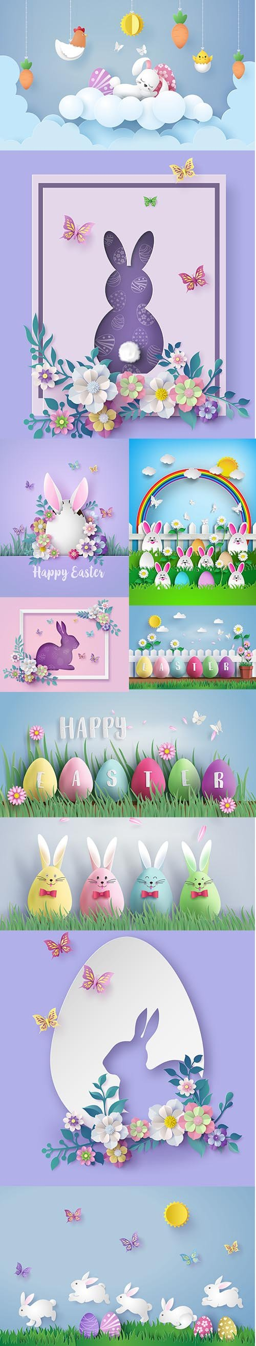 Easter Day Beautiful Illustration Vector Set
